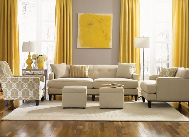 Mẫu ghế sofa phòng khách màu vàng và màu xám không bao giờ lỗi mốt