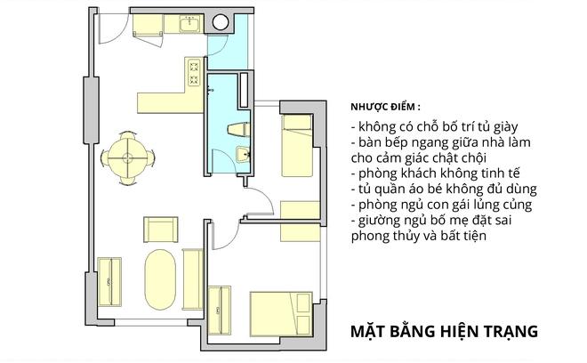 Tư vấn bố trí nội thất cho căn hộ 64m² từ vô số những nhược điểm thành không gian sống đáng mơ ước - Ảnh 1.