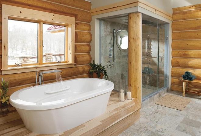 Những nhà tắm bằng gỗ chỉ liếc mắt trông qua cũng đủ khiến bạn xao xuyến - Ảnh 12.