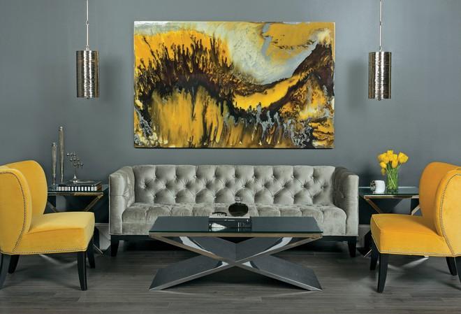 Những ý tưởng trang trí phòng khách với cặp đôi không bao giờ lỗi mốt: vàng - xám - Ảnh 12.