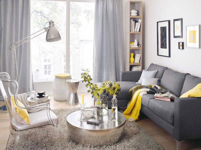 Những ý tưởng trang trí phòng khách với cặp đôi không bao giờ lỗi mốt: vàng - xám - Ảnh 14.