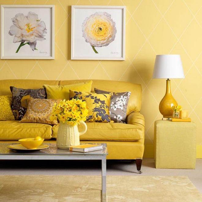 Những ý tưởng trang trí phòng khách với cặp đôi không bao giờ lỗi mốt: vàng - xám - Ảnh 15.