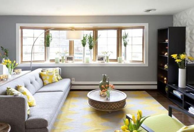 Những ý tưởng trang trí phòng khách với cặp đôi không bao giờ lỗi mốt: vàng - xám - Ảnh 3.