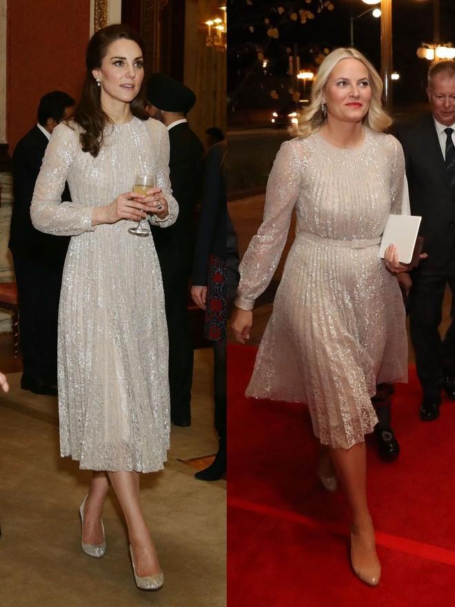 Trước khi trở thành người một nhà, công nương Kate và công nương tương lai Meghan Markle đã có màn đụng hàng váy áo thú vị - Ảnh 3.