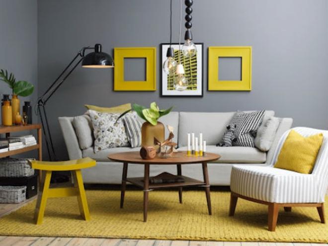 Những ý tưởng trang trí phòng khách với cặp đôi không bao giờ lỗi mốt: vàng - xám - Ảnh 4.