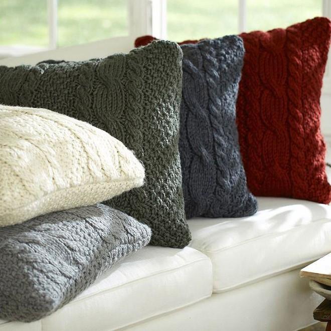 Trang trí phòng khách với gối tựa lưng bằng len siêu đẹp - Ảnh 4.