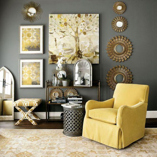 Những ý tưởng trang trí phòng khách với cặp đôi không bao giờ lỗi mốt: vàng - xám - Ảnh 5.