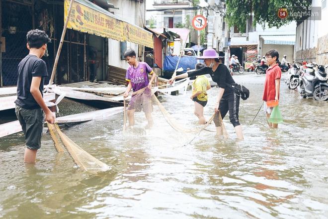 Cảnh tượng bi hài của người Sài Gòn sau những ngày mưa ngập: Sáng quăng lưới, tối thả cần câu bắt cá giữa đường - Ảnh 6.