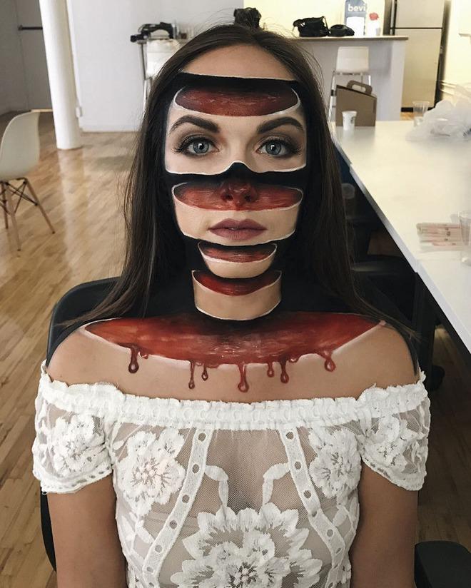 Cô gái chuyên cắt mặt thành nhiều khúc ai nhìn vào cũng hoảng sợ - Ảnh 1.