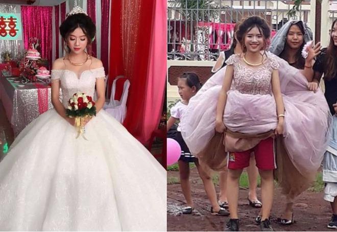 Chết cười với đám cưới nhầm ngày mưa bão, cô dâu xinh đẹp túm váy để lộ cảnh mặc quần đùi, mang giày thể thao - Ảnh 3.