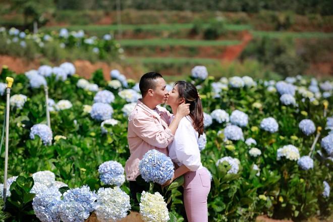 MC Hoàng Linh hạnh phúc như cô gái lần đầu biết yêu trong bộ ảnh cưới tại vườn cẩm tú cầu Đà Lạt - Ảnh 5.