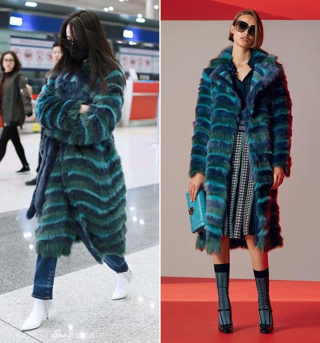 Chỉ ra sân bay, Địch Lệ Nhiệt Ba cũng mạnh tay sắm hẳn áo lông gần 400 triệu đồng - Ảnh 4.