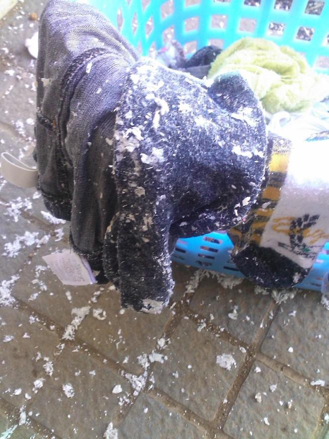 Quần áo lem nhem dính đầy vụn trắng vì lỡ giặt chung với giấy thì chỉ có cách cứu như thế này thôi - Ảnh 1.