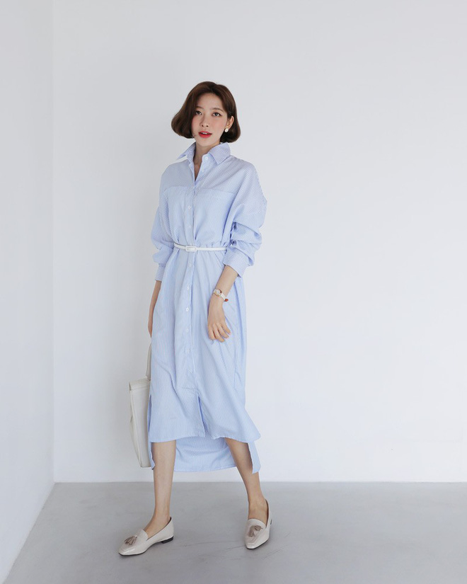 Trong loạt kiểu váy kẻ đang hot dịp đầu hè 2018, váy sơ mi vẫn là món đồ dễ mặc và luôn đẹp  - Ảnh 2.