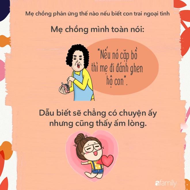 Mẹ chồng các mẹ sẽ phản ứng với các mẹ thế nào nếu biết con trai bà ngoại tình? - Ảnh 2.
