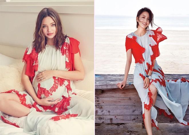 """Diện chung 1 chiếc váy, Miranda Kerr khi bụng bầu vượt mặt vẫn đẹp chẳng kém """"mỹ nhân Tân Cương"""" Đồng Lệ Á - Ảnh 5."""