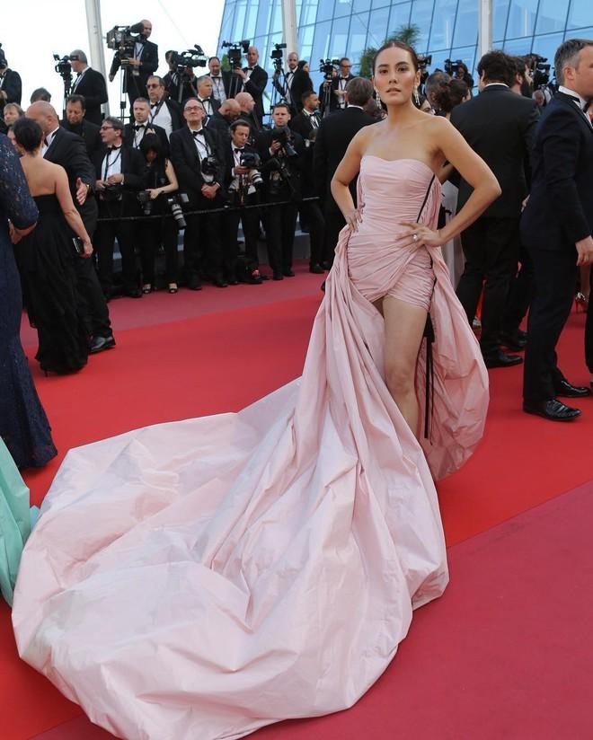 Mỹ nhân thị phi nhất Thái Lan lúng túng vì bộ đầm dài cồng kềnh khó kiểm soát tại Cannes 2018  - Ảnh 1.