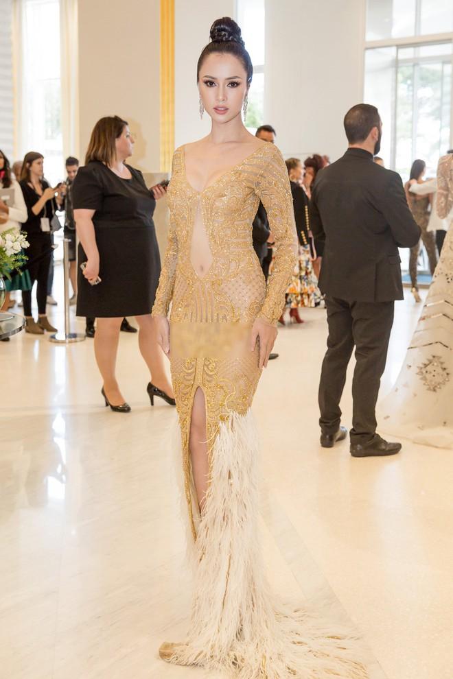 Tiếp tục diện đầm xuyên thấu lên thảm đỏ Cannes, Vũ Ngọc Anh khiến bộ váy như bị quá sức vì không che được những vùng cần che - Ảnh 4.