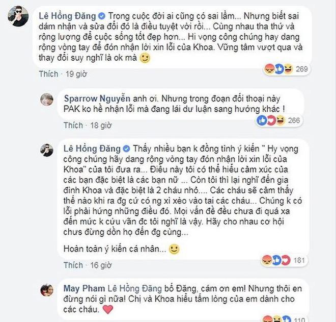 """Để lại bình luận bênh vực Phạm Anh Khoa nhưng Hồng Đăng nhanh chóng xóa đi vì bị """"khui"""" từng đánh phụ nữ - Ảnh 1."""