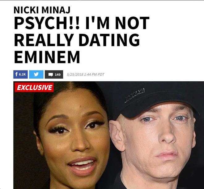 Sau khi khiến dân tình nháo nhào, Nicki Minaj bèn thú thật chỉ nói đùa chuyện hẹn hò rapper huyền thoại Eminem - Ảnh 1.