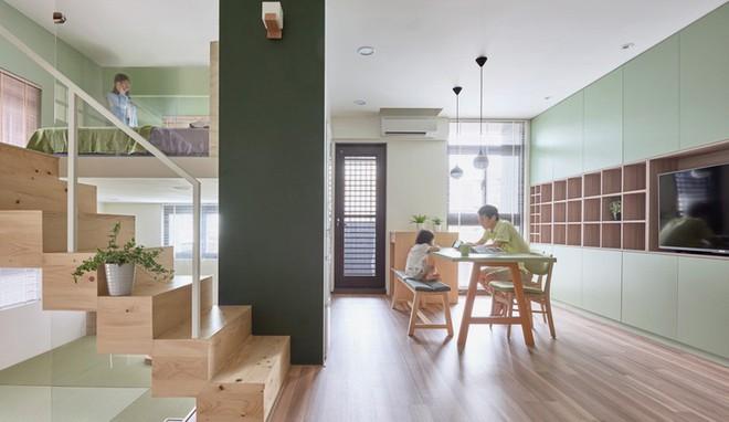 Ngôi nhà 40m² màu xanh matcha với thiết kế tầng lửng nhìn là yêu của gia đình trẻ - Ảnh 1.