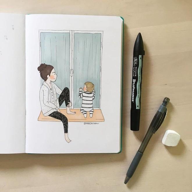 Bộ tranh phản ánh cuộc sống khi ở nhà chăm con của bà mẹ trẻ và nhóc tỳ 2 tuổi - Ảnh 14.