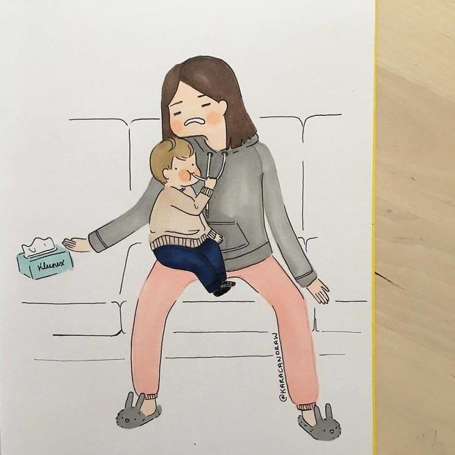 Bộ tranh phản ánh cuộc sống khi ở nhà chăm con của bà mẹ trẻ và nhóc tỳ 2 tuổi - Ảnh 27.