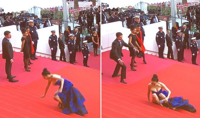 Hoa hậu Trung Quốc trở thành trò cười trên thảm đỏ Cannes vì cố tình ngã để gây chú ý - Ảnh 1.