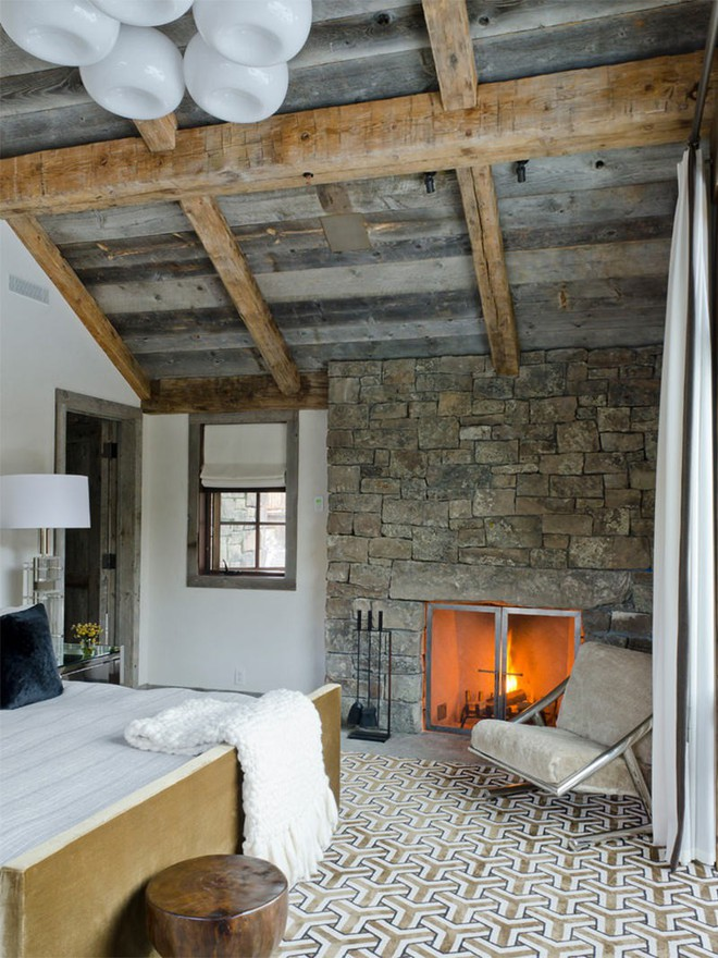 17 kiểu phòng ngủ với tường đá và gạch thô đáp ứng mọi sở thích của người chuộng phong cách này - Ảnh 10.
