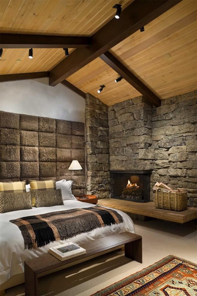 17 kiểu phòng ngủ với tường đá và gạch thô đáp ứng mọi sở thích của người chuộng phong cách này - Ảnh 15.