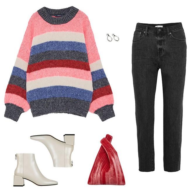 Áo len kẻ nhiều màu đang hot và đây là 3 kiểu quần rất ăn ý để kết hợp cùng - Ảnh 1.