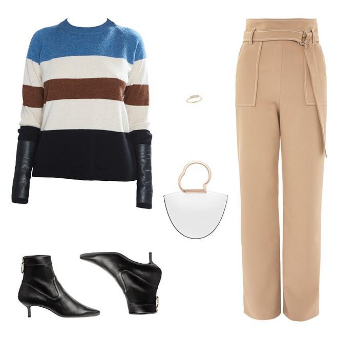 Áo len kẻ nhiều màu đang hot và đây là 3 kiểu quần rất ăn ý để kết hợp cùng - Ảnh 7.