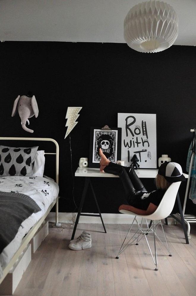 Những kiểu trang trí tường đen thật đẹp mắt trong phòng ngủ của các bé - Ảnh 20.