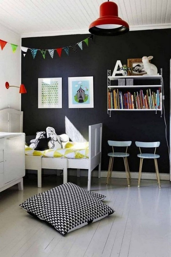 Những kiểu trang trí tường đen thật đẹp mắt trong phòng ngủ của các bé - Ảnh 22.