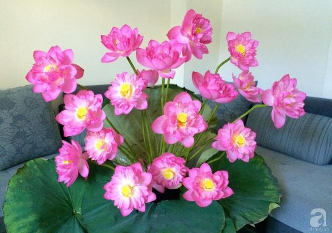 Mê mẩn ngắm những bình hoa sen đẹp tinh tế của người phụ nữ dịu dàng đất Hà Thành - Ảnh 6.