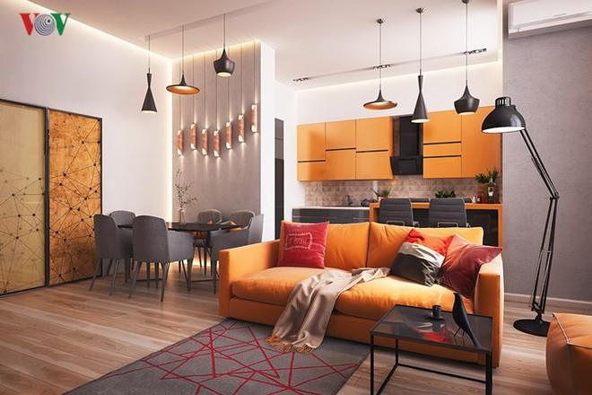 Không gian sống hiện đại với nội thất màu cam - Ảnh 1.