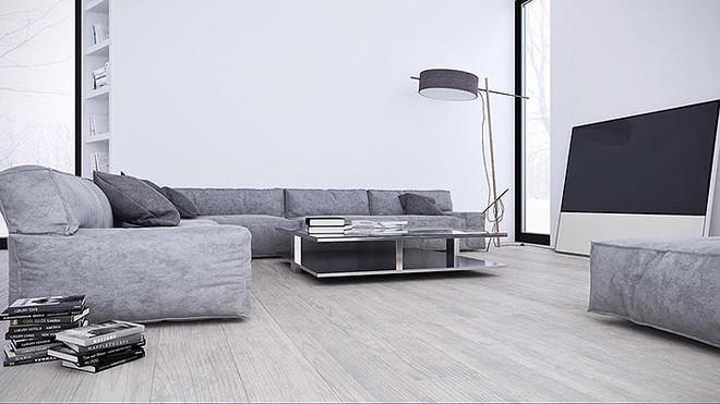 Thiết kế nội thất màu trắng và xám trong phong cách tối giản hiện đại - ảnh 1