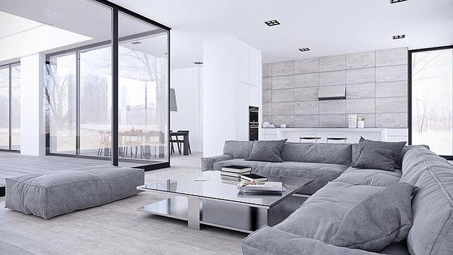 Thiết kế nội thất màu trắng và xám trong phong cách tối giản hiện đại - ảnh 2