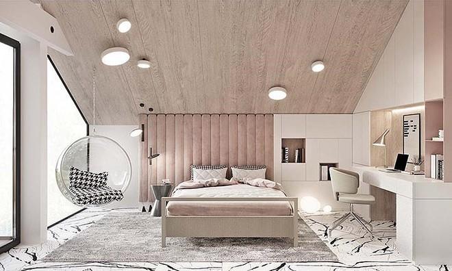 Phòng ngủ màu hồng vừa lạ vừa sang trọng - Ảnh 1.