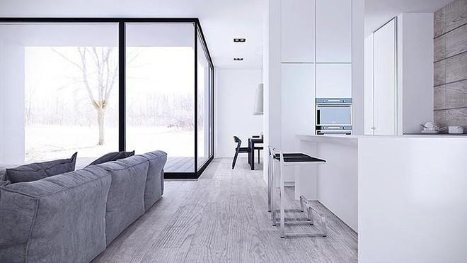 Thiết kế nội thất màu trắng và xám trong phong cách tối giản hiện đại - Ảnh 3.