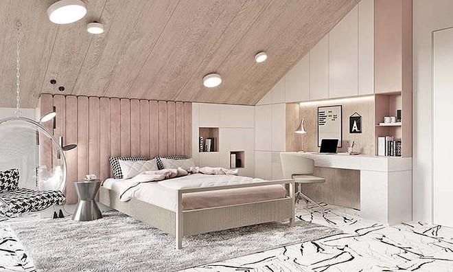 Phòng ngủ màu hồng vừa lạ vừa sang trọng - Ảnh 4.