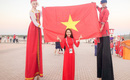Ngọc Nữ - cô gái có gương mặt đẹp nhất HH Hoàn vũ Việt Nam 2017 - gây bất ngờ khi sang tận Nga cổ vũ World Cup