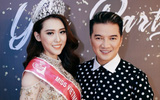 Đàm Vĩnh Hưng tươi tắn đến chúc mừng tân Hoa hậu Việt Nam thế giới