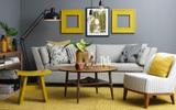 Những ý tưởng trang trí phòng khách với cặp đôi không bao giờ lỗi mốt: vàng - xám