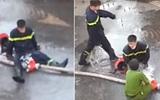 Phẫn nộ giọng cười của những cô gái trong clip chiến sĩ PCCC bị bỏng phải ngồi bệt trước vòi nước và cởi đồ