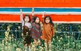 Bộ ba bạn thân Mầm - Mũm - Mon xuất hiện siêu yêu trong bộ ảnh chụp trên cánh đồng hoa cải