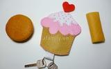 Móc đeo chìa khóa hình cupcake xinh xắn