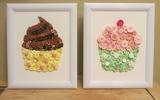 Trang trí nhà với tranh cupcake làm từ cúc áo