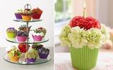 Đáng yêu kiểu cắm hoa hình bánh cupcake