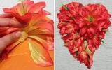 Cắt dán hoa thành hình trái tim tuyệt đẹp